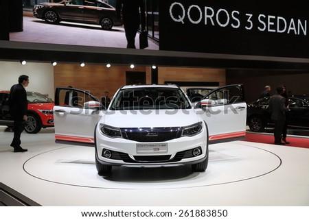 GENEVA, MARCH 3:A qoros 3 city suv  car on display at 85th international Geneva motor Show at Palexpo-Geneva on March 3, 2015 at Geneva, Switzerland.  - stock photo