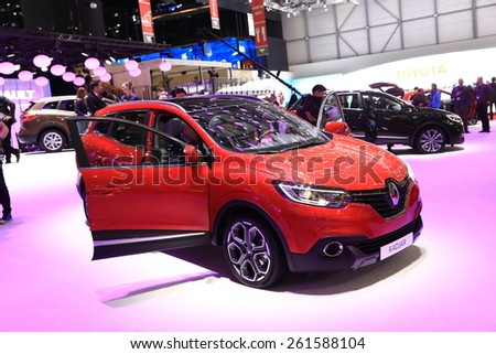 GENEVA, MARCH 3:A Renault Kadjar car on display at 85th international Geneva motor Show at Palexpo-Geneva on March 3, 2015 at Geneva, Switzerland.  - stock photo