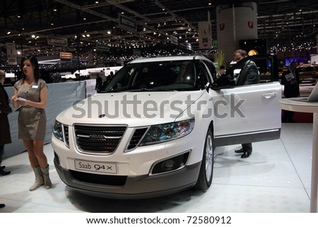GENEVA, MARCH 3 : A  saab 94x car on display at 81th International Motor Show Palexpo-Geneva on March 3, 2010 in Geneva, Switzerland. - stock photo