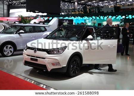 GENEVA, MARCH 3:A SsangYong Tivoli  car on display at 85th international Geneva motor Show at Palexpo-Geneva on March 3, 2015 at Geneva, Switzerland.  - stock photo
