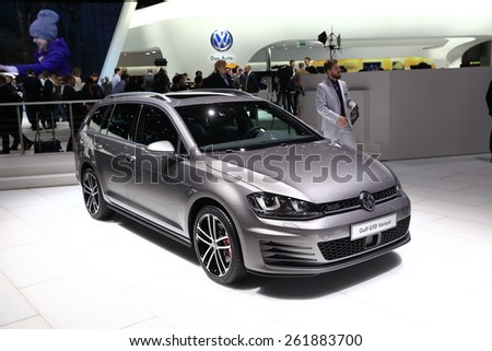 GENEVA, MARCH 3:A Volkswagen VW Golf GTD variant  car on display at 85th international Geneva motor Show at Palexpo-Geneva on March 3, 2015 at Geneva, Switzerland.  - stock photo