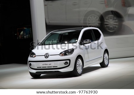 GENEVA, MARCH 8 : A Volkswagen white up!  car on display at 82th International Motor Show Palexpo-Geneva on March 8, 2012 in Geneva, Switzerland.