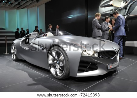 GENEVA - MARCH 1: BMW Vision Connected Drive Concept car on display at Geneva International Motor Show at Palexpo Geneva Centre, March 1, 2011 in Geneva, Switzerland. - stock photo