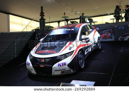 GENEVA, MARCH 3: Honda Civic J.A.S. car on display at 85th international Geneva motor Show at Palexpo-Geneva on March 3, 2015 at Geneva, Switzerland. - stock photo