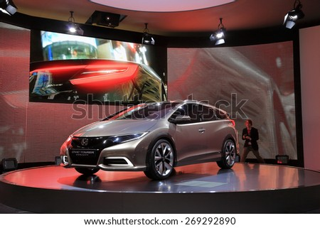 GENEVA, MARCH 3: Honda Civic Tourer concept car on display at 85th international Geneva motor Show at Palexpo-Geneva on March 3, 2015 at Geneva, Switzerland. - stock photo