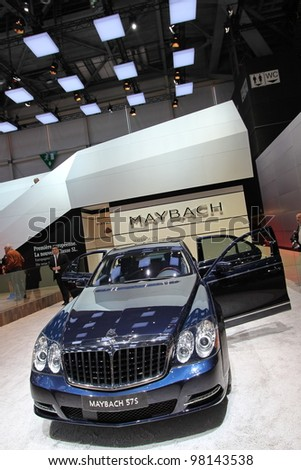 GENEVA - MARCH 16 : Maybach 57S on display at the 82st International Motor Show Palexpo -Geneva on March 16; 2012 in Geneva, Switzerland.
