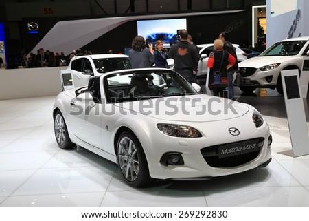 GENEVA, MARCH 3: Mazda  MX-5 car on display at 85th international Geneva motor Show at Palexpo-Geneva on March 3, 2015 at Geneva, Switzerland. - stock photo