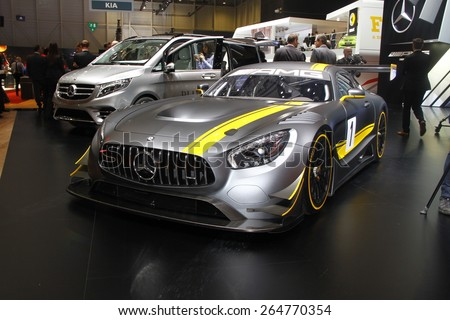 GENEVA, MARCH 3: Mercedes Benz AMG car on display at 85th international Geneva motor Show at Palexpo-Geneva on March 3, 2015 at Geneva, Switzerland. - stock photo