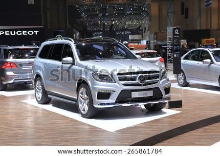 GENEVA, MARCH 3: Mercedes Benz  classe GL car on display at 85th international Geneva motor Show at Palexpo-Geneva on March 3, 2015 at Geneva, Switzerland. - stock photo