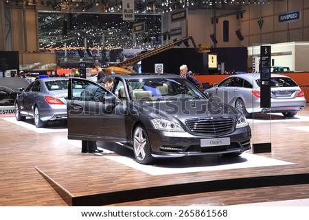 GENEVA, MARCH 3: Mercedes Benz classe S car on display at 85th international Geneva motor Show at Palexpo-Geneva on March 3, 2015 at Geneva, Switzerland. - stock photo