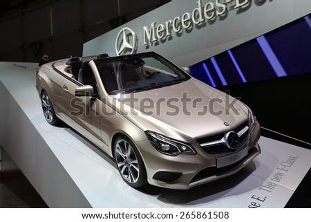 GENEVA, MARCH 3: Mercedes Benz E-Class car on display at 85th international Geneva motor Show at Palexpo-Geneva on March 3, 2015 at Geneva, Switzerland. - stock photo