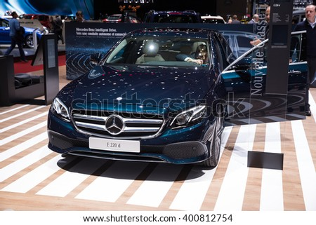 GENEVA, MARCH 2: Mercedes-Benz  E220d car on display at 86th international Geneva motor Show at Palexpo-Geneva on March 2, 2016 at Geneva, Switzerland.