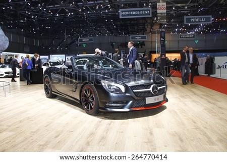 GENEVA, MARCH 3: Mercedes-Benz SL 400 car on display at 85th international Geneva motor Show at Palexpo-Geneva on March 3, 2015 at Geneva, Switzerland. - stock photo
