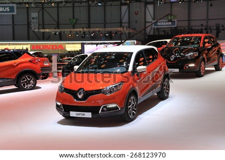 GENEVA, MARCH 3: Renault Captur car on display at 85th international Geneva motor Show at Palexpo-Geneva on March 3, 2015 at Geneva, Switzerland.  - stock photo