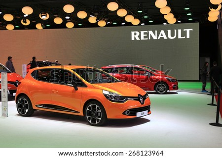 GENEVA, MARCH 3: Renault clio car on display at 85th international Geneva motor Show at Palexpo-Geneva on March 3, 2015 at Geneva, Switzerland.  - stock photo