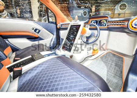 GENEVA - MARCH 3, 2015: Rinspeed Budii Concept autonomous car based on all-electric BMW i3 presented at the 85th Geneva International Motor Show. Photo of the interior. - stock photo