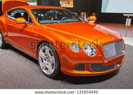 GENEVA - MARCH 8: The Bentley Continental on display at the 81st International Motor Show Palexpo-Geneva on March 8; 2011 in Geneva, Switzerland. - stock photo
