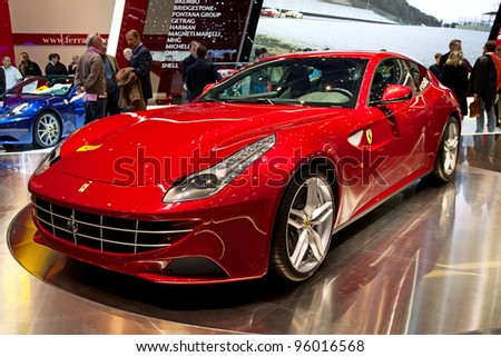 GENEVA - MARCH 8: The Ferrari FF on display at the 81st International Motor Show Palexpo-Geneva on March 8; 2011  in Geneva, Switzerland.