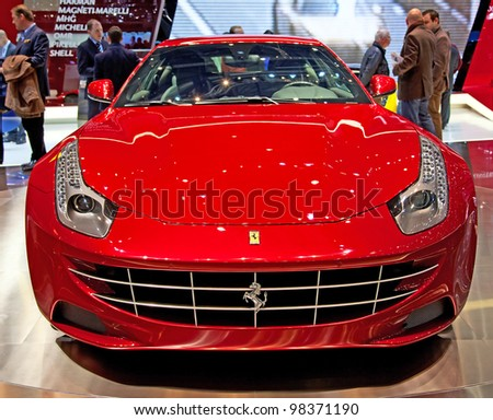 GENEVA - MARCH 8: The Ferrari FF on display at the 81st International Motor Show Palexpo-Geneva on March 8; 2011  in Geneva, Switzerland. - stock photo