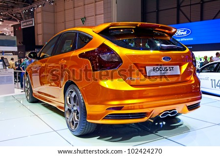 GENEVA - MARCH 8: The Ford Focus ST concept on display at the 81st International Motor Show Palexpo-Geneva on March 8; 2011  in Geneva, Switzerland. - stock photo