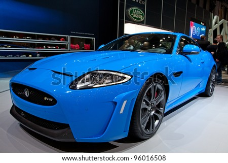 GENEVA - MARCH 8: The Jaguar XK on display at the 81st International Motor Show Palexpo-Geneva on March 8; 2011  in Geneva, Switzerland. - stock photo