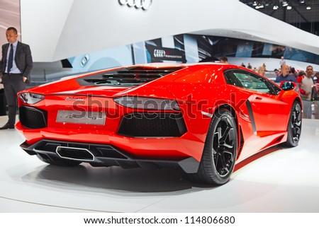 GENEVA - MARCH 8: The Lamborghini Aventador on display at the 81st International Motor Show Palexpo-Geneva on March 8; 2011 in Geneva, Switzerland. - stock photo