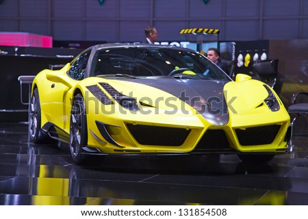 GENEVA - MARCH 8: The Mansory GT on display at the 81st International Motor Show Palexpo-Geneva on March 8; 2011 in Geneva, Switzerland. - stock photo