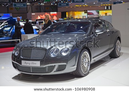 "GENEVA - MARCH 8: The new Bentley Continental ""Flying Star"" on display at the 81st International Motor Show Palexpo-Geneva on March 8, 2011 in Geneva, Switzerland. - stock photo"