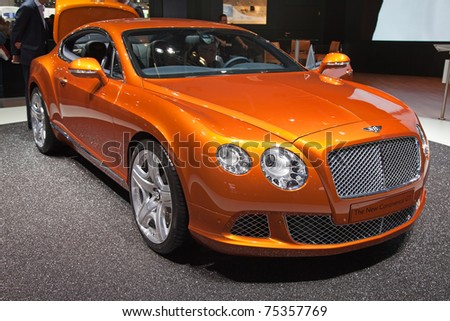 GENEVA - MARCH 8: The New Bentley Continental GT on display at the 81st International Motor Show Palexpo-Geneva on March 8; 2011  in Geneva, Switzerland. - stock photo