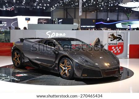 GENEVA, MARCH 3: The New Spania GTA Spano car on display at 85th international Geneva motor Show at Palexpo-Geneva on March 3, 2015 at Geneva, Switzerland. - stock photo