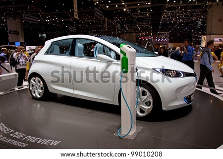 GENEVA - MARCH 8: The Renault Zoe Fully electric concept car on display at the 81st International Motor Show Palexpo-Geneva on March 8; 2011  in Geneva, Switzerland. - stock photo