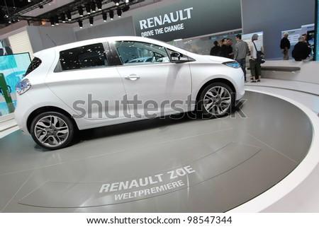GENEVA - MARCH 16 : the Renault Zoe on display at the 82nd International Motor Show Palexpo - Geneva on March 16; 2012 in Geneva, Switzerland. - stock photo