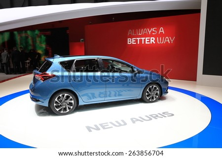 GENEVA, MARCH 3: Toyota Auris Hybrid car on display at 85th international Geneva motor Show at Palexpo-Geneva on March 3, 2015 at Geneva, Switzerland.  - stock photo