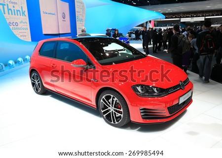 GENEVA, MARCH 3: Volkswagen VW golf  GTD R-line car on display at 85th international Geneva motor Show at Palexpo-Geneva on March 3, 2015 at Geneva, Switzerland. - stock photo