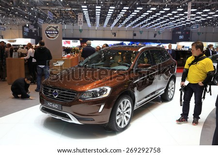 GENEVA, MARCH 3: Volvo XC60  car on display at 85th international Geneva motor Show at Palexpo-Geneva on March 3, 2015 at Geneva, Switzerland. - stock photo