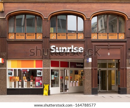 GENEVA, NOVEMBER 17: An Sunrise outlet, November 17, 2013, Geneva, Switzerland. Sunrise is a private phone company with 2012 sales of CHF 2 billion, 3 million clients and EBITDA of CHF 631 million
