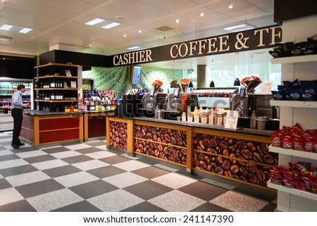 GENEVA - SEP 11: airport cafe on September 11, 2014 in Geneva, Switzerland. Geneva International Airport is located 4 km northwest of the city centre - stock photo