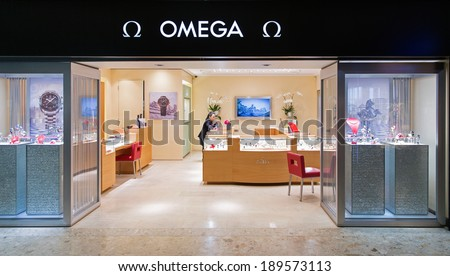 GENEVA, SWITZERLAND - April 15, 2014: An OMEGA outlet. OMEGA has been creating watches since the 19th century and was the first watch on the Moon, worn by Buzz Aldrin.