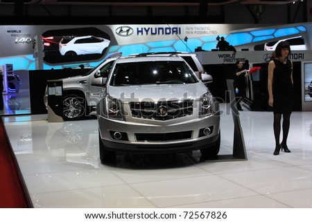 GENEVA, Switzerland - MARCH 3 : A Cadillac car on display at 81th International Motor Show Palexpo-Geneva on March 3, 2010 in Geneva, Switzerland.