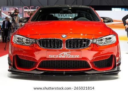GENEVA, SWITZERLAND - MARCH 3, 2015: AC Schnitzer BMW M4 at the 85th International Geneva Motor Show in Palexpo, Geneva. - stock photo
