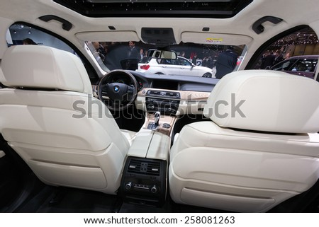 GENEVA, SWITZERLAND - MARCH 4, 2015: BMW 530d xDrive Touring interior view at the 85th International Geneva Motor Show in Palexpo.