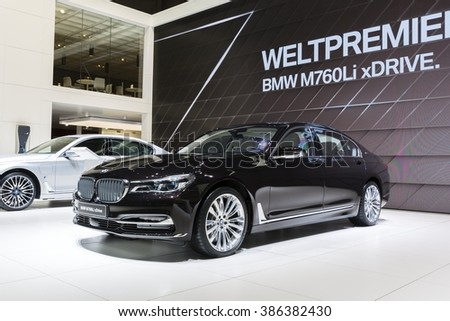 Geneva, Switzerland - March 1, 2016: 2016 BWM M760Li xDrive presented on the 86th Geneva Motor Show in the PalExpo