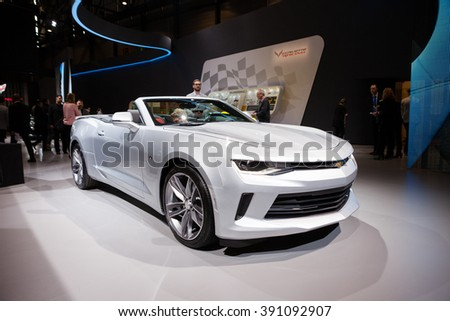 Geneva, Switzerland - March 1, 2016: Chevrolet Camaro Convertible, front-side view presented on the 86th Geneva Motor Show in the PalExpo