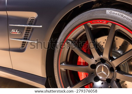 """GENEVA, SWITZERLAND - MARCH 4, 2015: Close up of the Special Edition Mercedes SL """"Mille Miglia 417"""" at the 85th International Geneva Motor Show in Palexpo, Geneva. - stock photo"""