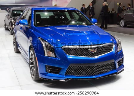 GENEVA, SWITZERLAND - MARCH 3, 2015: European premiere of the Cadillac ATS-V at the 85th International Geneva Motor Show in Palexpo.