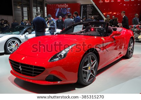 GENEVA, SWITZERLAND - MARCH 1, 2016: Ferrari California T sports car shown at the 86th International Geneva Motor Show in Palexpo, Geneva. - stock photo