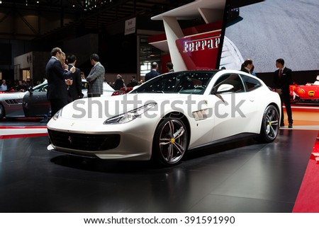 Geneva, Switzerland - March 1, 2016: Ferrari GTC4 Lusso, front-side view presented on the 86th Geneva Motor Show in the PalExpo - stock photo