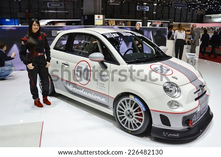 GENEVA, SWITZERLAND - MARCH 4, 2014: Fiat Abarth 695 Assetto Corse on display during the Geneva Motor Show.