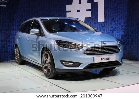 GENEVA, SWITZERLAND - MARCH 4, 2014: 2015 Ford Focus Wagon presented at the 84th International Geneva Motor Show on March 4, 2014 in Palexpo, Geneva, Switzerland