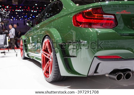 GENEVA, SWITZERLAND - MARCH 1: Geneva Motor Show on March 1, 2016 in Geneva, AC Schnitzer ACL2, rear light closeup view - stock photo